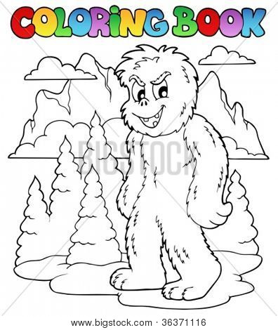 Coloring book with yeti 1 - vector illustration.