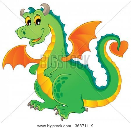 Dragon theme image 1 - vector illustration.