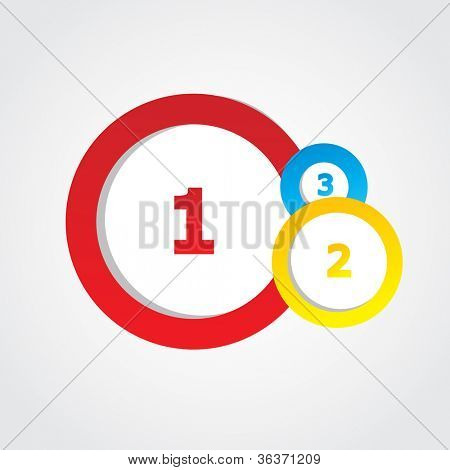 Multicolored round banners with numbers and place for text. Vector format for your design