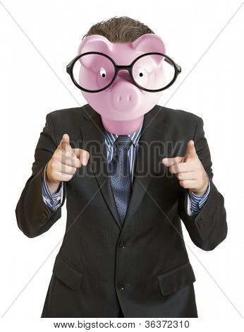 Businessman with a piggy bank head