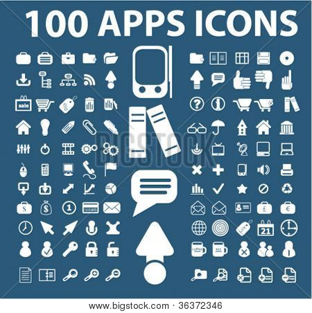 100 apps & mobile phone icons set, vector