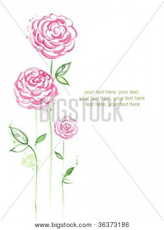Watercolor card with stylized roses