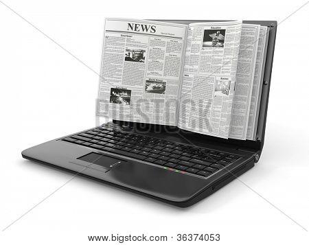 Noticias. Periódico como la pantalla del ordenador portátil sobre fondo blanco. 3D