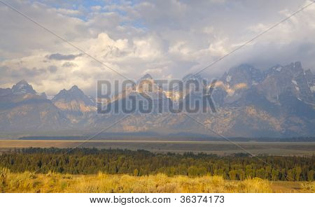 Grand Teton range at sunrise