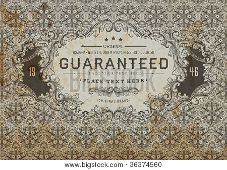 Vintage label for certificate or guaranteed form design | Seamless detailed retro background