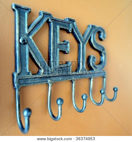 Key chain holder on a wall