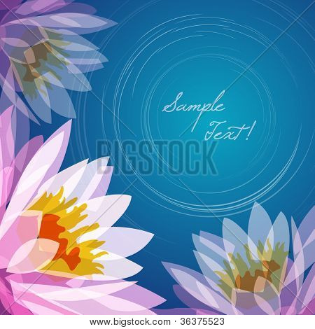 Lotus flower lake background, vector