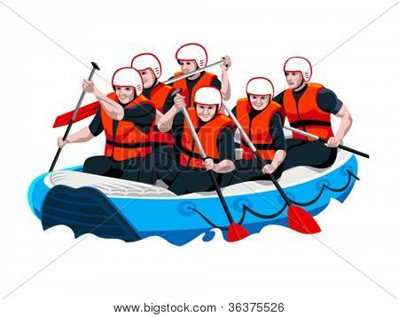 White water rafting men and women team