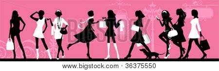 Shopping woman. All elements and textures are individual objects. Vector illustration scale to any size.