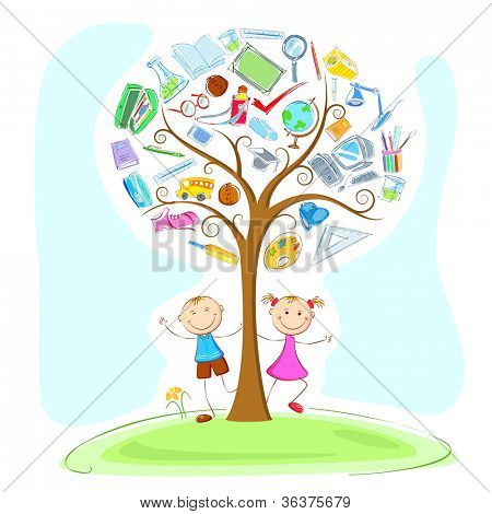 illustration of kids under education object in wisdom tree