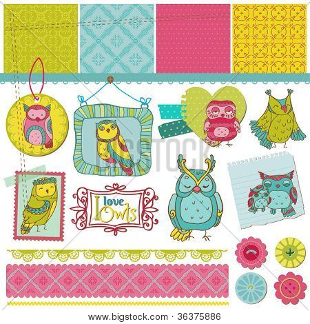Scrapbook Design Elements - Little Owls Collection - hand drawn - in vector