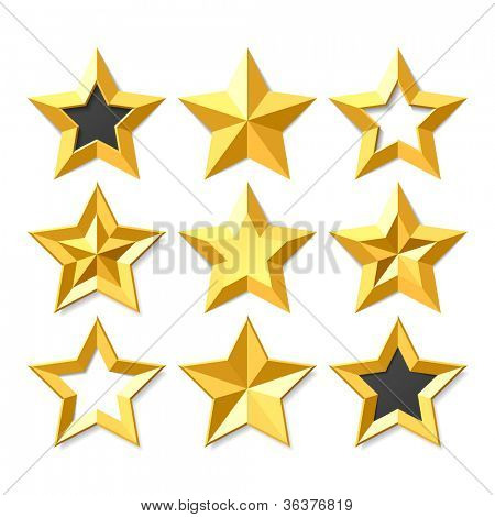 Gold stars set. Vector.