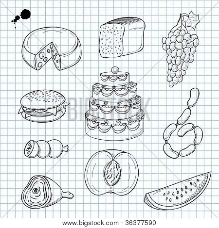 Vector illustration of objects on the topic of food