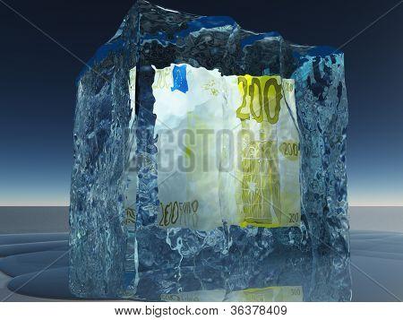 Frozen 200 Euro Note