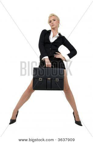 Empresária, segurando o saco de escritório