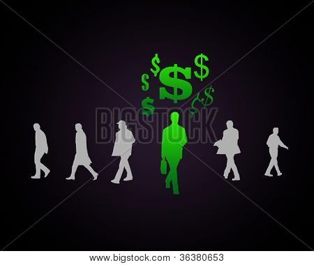 Human figure with currency symbol on black background