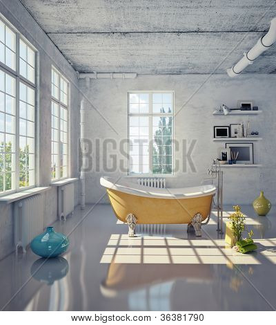 bathtub in the loft interior (illustration)