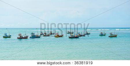Lots of fishing boats in Weligama bay, Sri Lanka