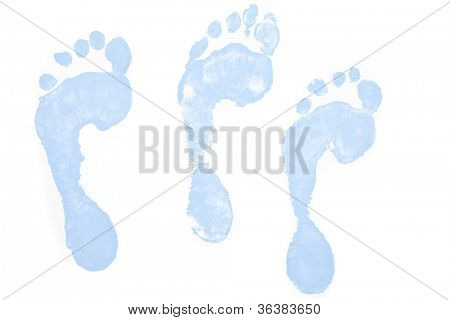 Three blue footprints against a white background