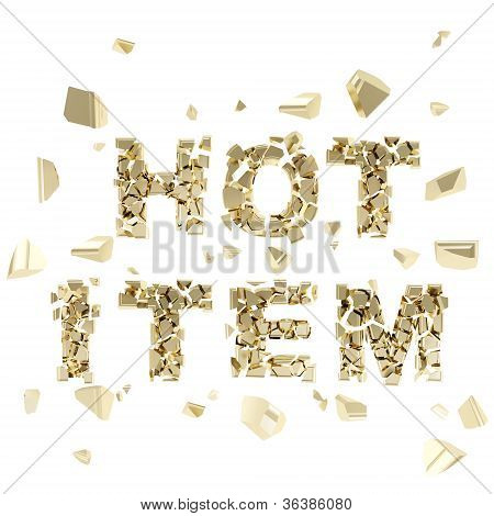Hot Item Tag Emblem Made Of Words Broken Into Pieces