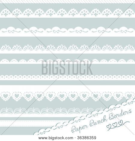 Set of hand-drawn Lace Paper Punch Borders