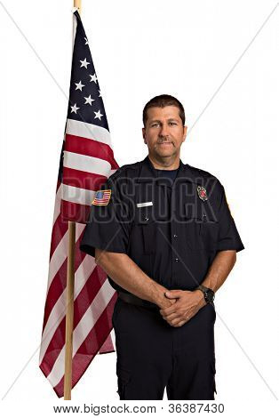 Uniformed Firefighter Standing Half Body Length Portrait In front of American Flag  Isolate on Withe Background