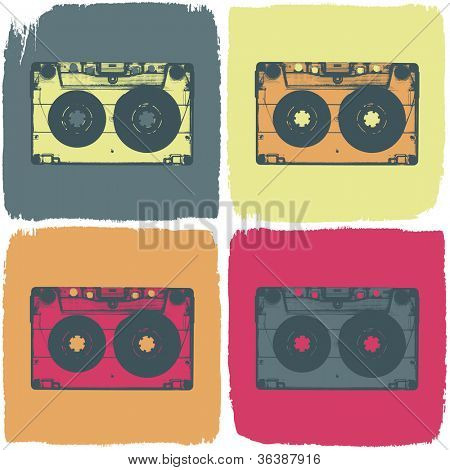 Audio cassette pop-art concept. Raster version, vector file available in portfolio.