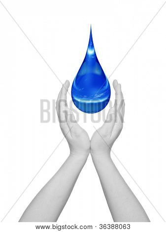 Concept or conceptual blue water or liquid drop falling in two woman hands isolated on white background,for human,splashing,palm,clear,purity,freshness,nature,clean,health,rain,environment or drinks