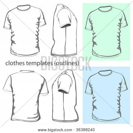 Vector. Men's t-shirt design template (front, back and side view). Outline
