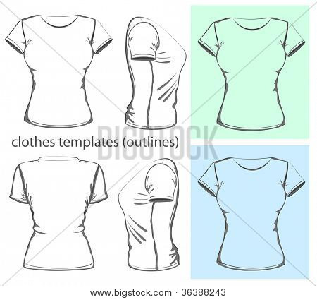 Vector. Women's t-shirt design template (front, back and side view).outline