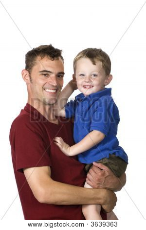 Happy Man Holding Smiling Child