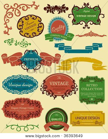 Color frames in retro style. Could be used as infographics elements.