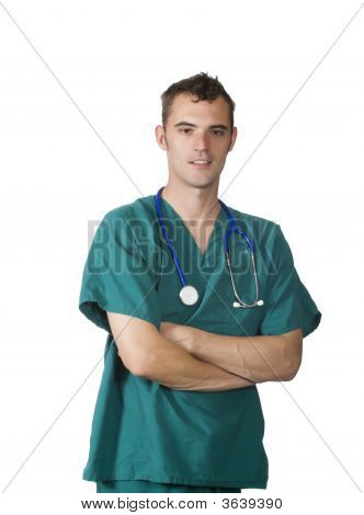 Confident Doctor In Green Scrubs