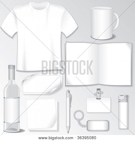 Blank Design Templates for your Presentation or Logos. White Vector Wine Bottle, T-Shirt, Mug, Brochure, Badge, Pen, Sticker...
