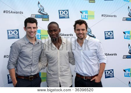 Los Angeles - AUG 19:  Max Greenfield, Lamorne Morris and Jake M. Johnson arrives at the 2012 Do Something Awards at Barker Hanger on August 19, 2012 in Santa Monica, CA