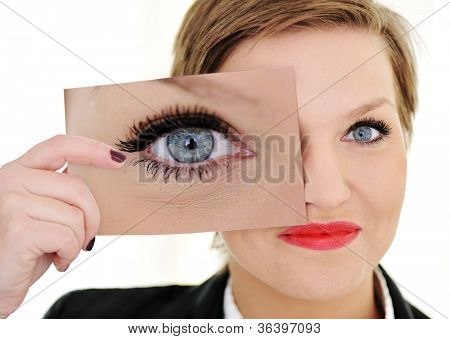 Woman with big eye concept