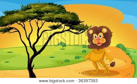 illustration of a lion standing on raod