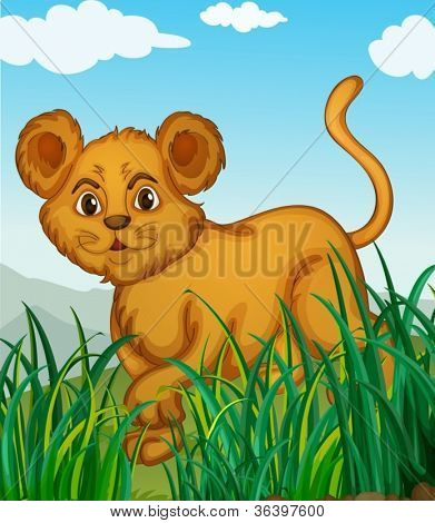 illustration of a cub walking in nature