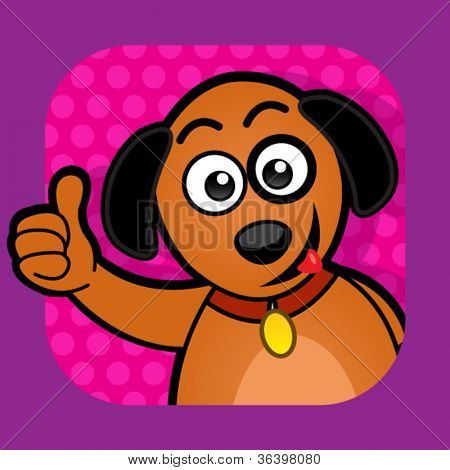 Dog approving Illustration with thumb up