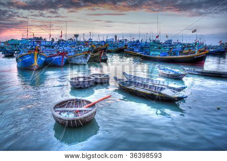 Fishing boats in marina at Phat Thiet, Mui Ne, Vietnam