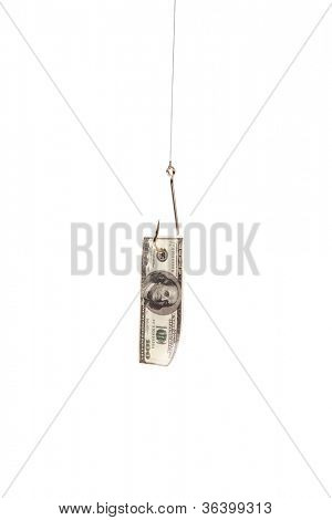 Hundred dollars on fishing hook isolated on white background