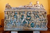 stock photo of artemis  - Sarcophagus with the Calydonian boar hunt made of Proconnesian marble - JPG