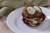 pic of portobello mushroom  - Portobello mushroom burger with grilled red pepper, onion and goat cheese yogourt sauce