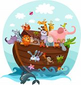 foto of sea cow  - vector illustration of a cute  Noah - JPG