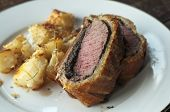 pic of beef wellington  - Fresh baked filet mignon in puff pastry with mushroom - JPG