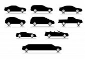 foto of  jeep  - Silhouettes of different types of a body of cars with a shadow - JPG