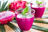 picture of dragon fruit  - Purple Dragon fruit juice with mint in glasses - JPG