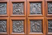 foto of vicenza  - Storytelling door of the cathedral of Vicenza Italy - JPG