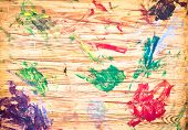 pic of dab  - Dabs of paint on a wooden artist - JPG