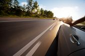 picture of tree lined street  - Car ride on road in sunny weather - JPG